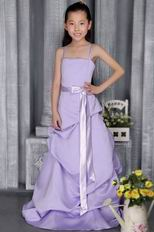 Lavender A-line Straps Brush Bubble Skirt Flower Girl Dress With Belt
