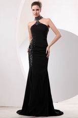 Fashionable Halter Black Chiffon Prom Dress With High Split