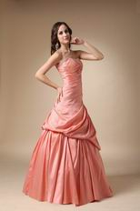 Pink Strapless Floor-length Taffeta Prom Ball Gown