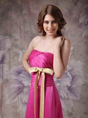Strapless Floor Length Fuchsia Prom Dress With Champagne Belt