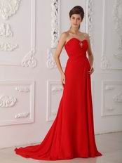 2014 Designer Prom Dress With Sweetheart Red Split Chiffon Skirt