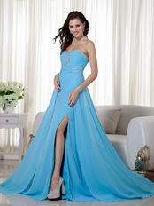 Empire Waist Best Aqua Blue Prom Dress With Side Split