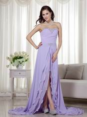 2014 New Arrival Lavender Prom Dress With Detachable High Low Skirt