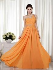 One Shoulder Orange Floor Length Cache Prom Dress With Beading