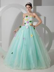 Pale Turquoise La Femme Prom Dress With Colorful Flowers