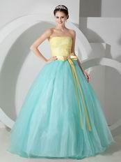 Pale Turquoise Strapless Floor Length Puffy Colorful Prom Gown
