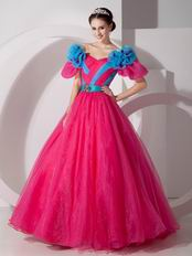 Fuchsia Organza Floor-length Quinceanera Prom Gown