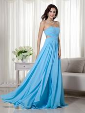 Aqua Blue Split Chiffon Floor Length Designer Prom Dress