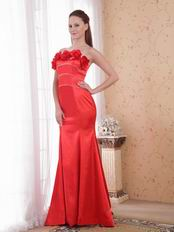 Scarlet Mermaid Strapless Prom Dress With Handcrafted Flowers