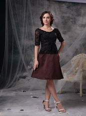 Black and Brown Half Sleeves Lace Mother Of The Bride Dress Short Modest
