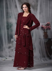 Layers Skirt Burgundy Mother Of The Bride Dress And Coat Modest