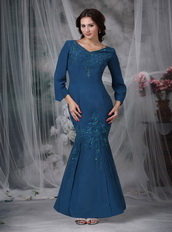 Modest Strong Blue Sleeves Mother Of The Bride Dress Mermaid Modest