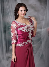 Cardinal Red Half Sleeve Appliques Dress For Bridal Mother Modest