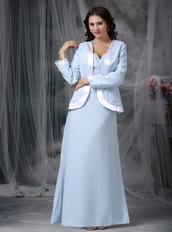 Baby Blue Half Sleeves Mather Of Bride Dress With Bordure Coat Modest
