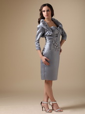 Grey Knee-length Mother Of The Bride Dress With Jacket Modest