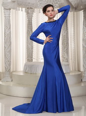 Bateau Stretch Charmeuse Mom Of The Bride Dress With Long Sleeves Modest