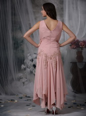 Asymmetrical Pink Chiffon Mother of the Bride Dress With Coat Modest