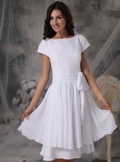 Bateau Neck White Chiffon Short Mother Of The Bride Dress Modest