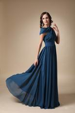 Asymmetrical Neck Steel Blue Mother Of The Bride Dress 2018-2019