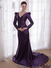 Dark Purple Long Sleeves Mother Dress For Wedding Party