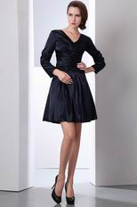 Long Sleeves Mother Of The Bride Black Short Dress
