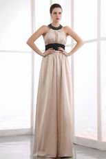 Halter Champagne Bridal Mother Dress With Black Sash