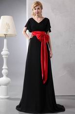 Black Chiffon Mother Of The Bride Dress With Scarlet Belt