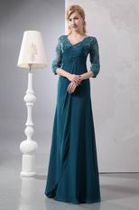 Strong Blue Half Lace Sleeves Mother Of The Bride Dress