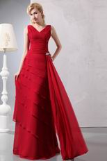 Decent Layers Skirt Wine Red Mother Of The Bride Dress