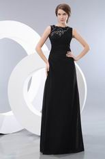 High Neckline Black Mother Of The Bride Dress With Lace