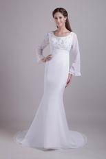 Long Chiffon Sleeves Trumpet Mother Of The Bride Dress