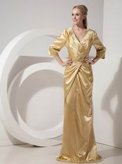 3/4 Sleeves Golden Mother Of The Bride Dress By Designer