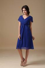 Royal Blue Tea Length Mother Of The Bride Dress By Designer