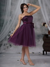 Spaghetti Straps Paillette Short Prom Dress Dark Purple Knee Length Sexy