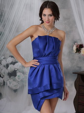 Royal Blue Strapless Prom Dress With Mini Skirt Designer Knee Length Sexy