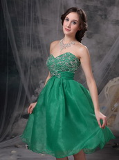 Green Sweetheart Knee-length Beaded Short Prom Dresses Knee Length Sexy