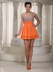 Beaded Embellishment Orange 2013 Short Dresses For Prom Wear Knee Length Sexy