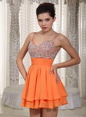 Beaded Embellishment Orange 2019 Short Dresses For Prom Wear Knee Length Sexy