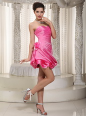 Lovely Rose Pink Taffeta Prom / Cocktail Dress With Handle Flowers Knee Length Sexy