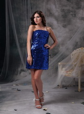 Mini-length Short Prom Dress Made By Royal Blue Sequin Knee Length Sexy