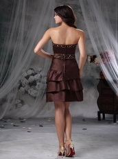 2014 Mini-length Layers Skirt Short Prom Dress In Brown Knee Length Sexy