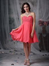 2013 Coral Red Sweetheart Mini Prom Dress For Women Knee Length Sexy