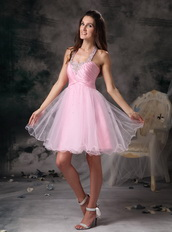 Halter Neck Style Organza Mini-length Prom Dress Pink Knee Length Sexy