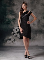 Black Asymmetrical Knee-length Layers Short Prom Gowns Knee Length Sexy