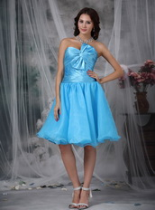 Aqua Blue Knee-length Corset Back Short Prom Dresses Knee Length Sexy