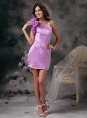 Lilac Single Shoulder Mini Prom Dress With Handcrafted Flowers Knee Length Sexy