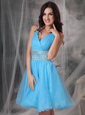 Aqua Blue V-neck Beaded Short Prom Dress Cross Back Knee Length Sexy