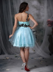 Light Blue One Shoulder Mini Prom Dress With Black Appliques Knee Length Sexy