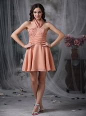 Halter Top Neck Rust Red Chiffon Prom Party Short Dress Knee Length Sexy