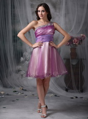 Lilac Prom Dress With One Shoulder Knee Length Skirt Knee Length Sexy